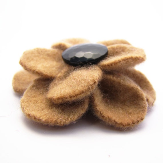 Upcycled Gold Flower Clip, Photography Prop, made from a Felted Cashmere Sweater