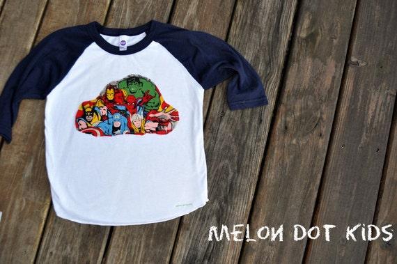 superhero shirts: mavel comics raglan t shirt