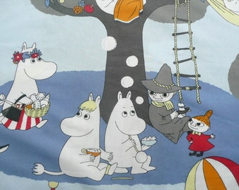 RESERVED to POPO Moomin fabric Moomins on a summer holiday  blue background cotton grey Snorkmaiden