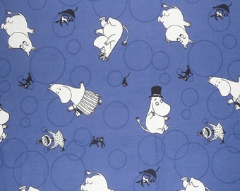 vintage Moomin fabric scrap dark blue small characters tillukka