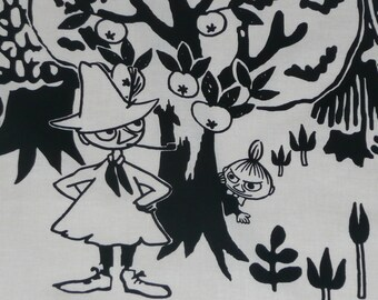 Moomin fabric Night Moomin, black and white colours