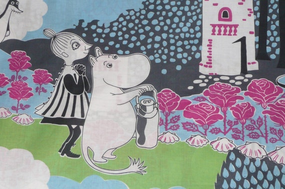 Moomin fabric / scrab Mama with berries, blue background