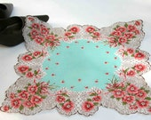 Feminine Turquoise Scarf with rose flowers