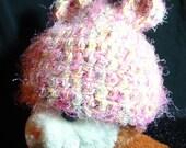 soft fuzzy newborn hat with ears B-002