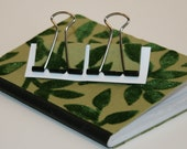 Mini Composition Book and Binder Clips - Flocked Green Ivy