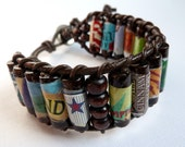 Beer Cuff Bracelet - Upcycled Beer Labels, Brown Leather, Wood
