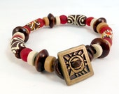 Recycled Glass Bracelet - Brown, Ruby Red, Brown Leather