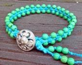 Woven Bracelet - Turquoise Hemp Bracelet, Bright Green Beaded, Hemp Macrame Bracelet, Color Block Style
