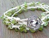 Peridot Bracelet - Wrap Bracelet, Braided Natural Hemp Bracelet, Green, Spring Theme