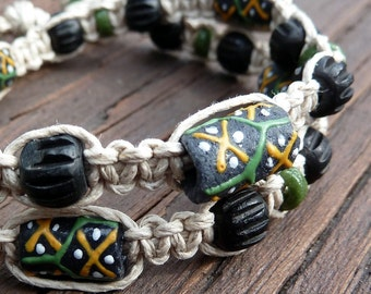 Black Recycled Wrap Bracelet - Black Krobo Beads, Black Bone Beads, Natural Hemp Macrame, Unisex