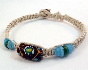 Brown Recycled Glass Bracelet - Brown Krobo Bead Bracelet, Natural Hemp Bracelet, Macrame Bracelet