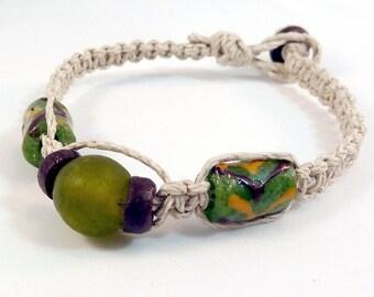 Olive Green Recycled Glass Bracelet - Natural Hemp Macrame Bracelet, Brown Glass Beads, Stacking Bracelet