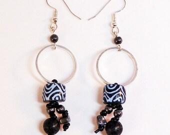 Black Glass Earrings - Black and White Recycled Glass, Bohemian, Silver Rings, Dangle Earring