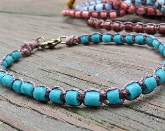 Dark Teal Stacking Bracelet - Dark Teal Recycled Glass Beads, Brown Hemp Macrame Bracelet