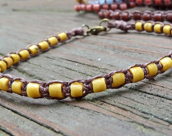 Golden Yellow Stacking Bracelet - Golden Yellow Recycled Glass Beads, Brown Hemp Macrame Bracelet