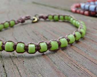 Bright Green Stacking Bracelet - Green Recycled Glass Beads, Brown Hemp Macrame Bracelet