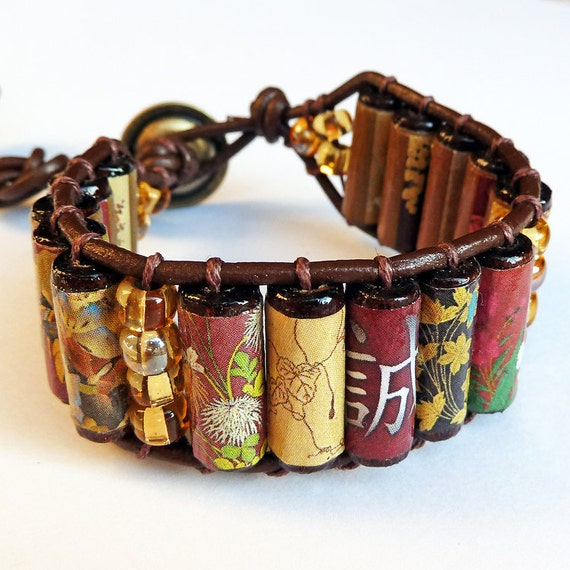 Sincerity and Truth Cuff Bracelet - Japanese Art, Maroon, Brown Leather, Wood