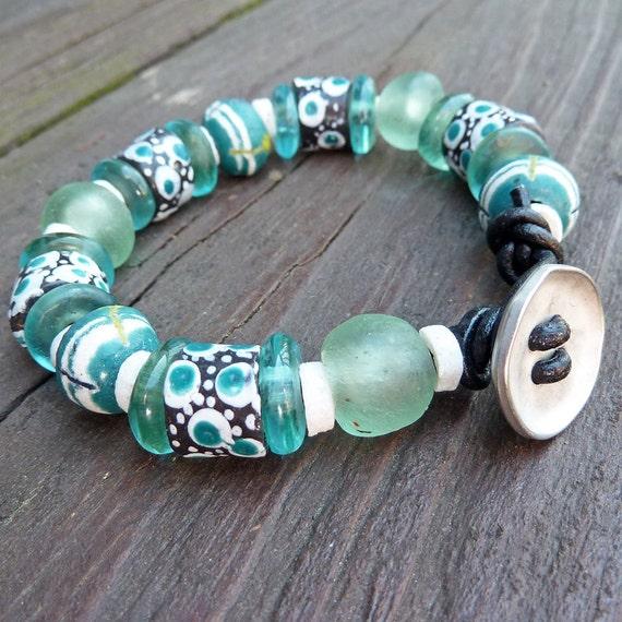Teal Recycled Glass Bracelet  - Black Leather Bracelet, Spotted Black Beads, Chunky, Spring Theme