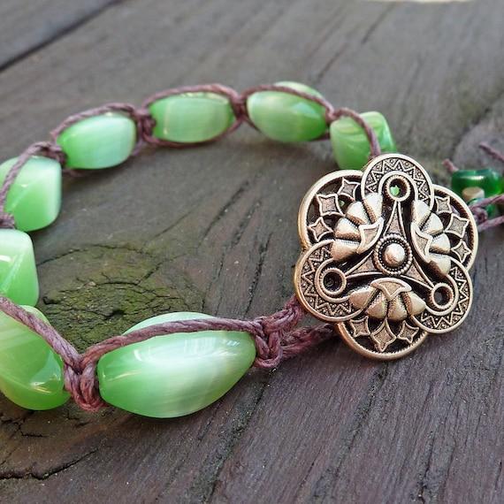 Lime Green Bracelet - Brown Hemp Macrame Bracelet, Green Catseye Glass, Spring Theme