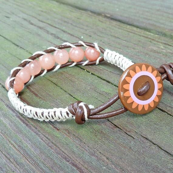 Salmon Pink Bracelet - Retro Button, Salmon Pink Quartz Beads, Brown Leather