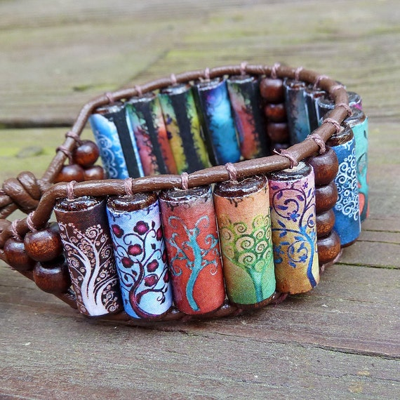 Tree of Life Cuff Bracelet - Brightly Colored Tree Graphics, Brown Leather Bracelet