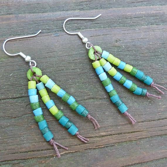 Green to Blue Ombre Earrings - Dangle Earrings, Green Recycled Glass Beads, Blue Recycled Glass Beads, Brown Hemp