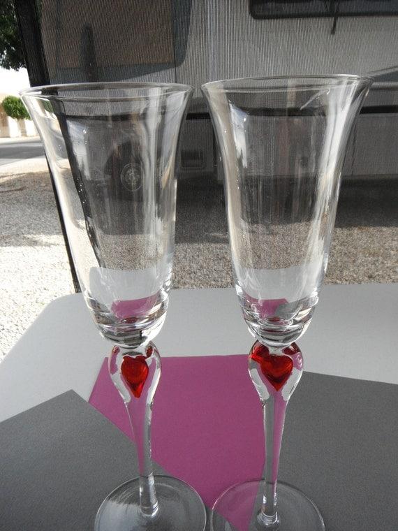 Handblown Heart Champagne Glasses