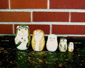 Wonderful Vintage Hand-Painted Wood Kitten nesting Dolls