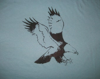 screen printed eagle on a blue tshirt-XLarge