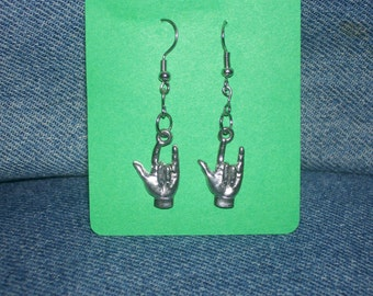 I LOVE YOU in sign language in pewter ( also available in gold tone) dangling earrings