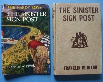 Vintage Hardy Boys Mystery #15 The Sinister Sign Post  - Neat Dust Jacket c. 1960s