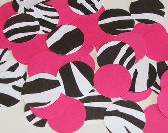 Hot Pink and Zebra Handpunched Confetti - 100 pieces