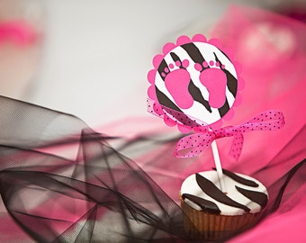 Pink & Zebra Print Baby Feet Cupcake Toppers - Set of 12 Baby Shower Toppers - Zebra Baby Shower Cupcake Decoration