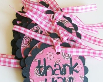 Shop Anniversary 25% SALE Paisley Cowgirl Scalloped THANK YOU Gift Tags