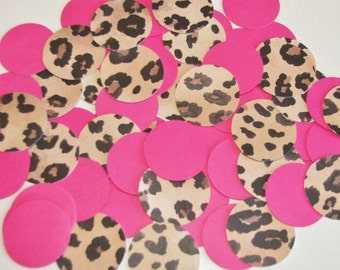 Hot Pink and Leopard Circle Confetti - 100 pieces - Birthday Party Decoration, Baby Shower, Cheetah Bridal Shower Decor