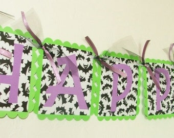 80% CLEARANCE Sale - Batty HAPPY HALLOWEEN Banner - Ready to Ship - Happy Halloween Party Banner Decoration - Halloween Decor