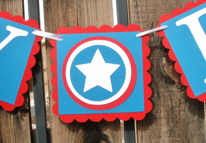 Banner: Captain America HAPPY BIRTHDAY Banner Red White & Blue