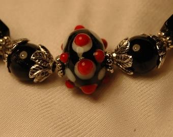 Lampwork Bead Focal ceramic beaded bracelet