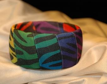 Rainbow Zebra Print Bangle