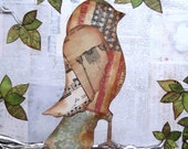 2 Birds in a Tree Bird Art Patriotic Folk Art SALE