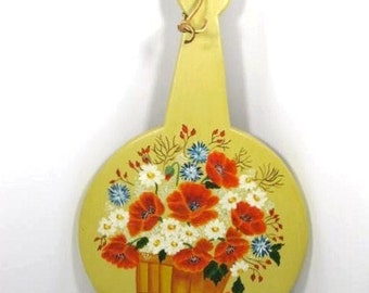 Wooden Cutting Board Hand Painted with Poppies and Daisies