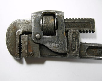 Trimo Pipe Wrench 10 inch Alloy Steel vintage INDUSTRIAL art Dad's Toolbox