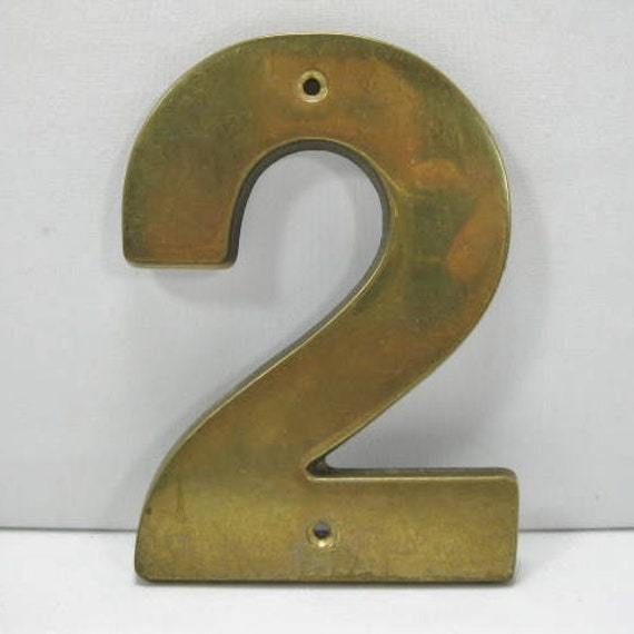 Brass Number Two or Number 2 in Brass