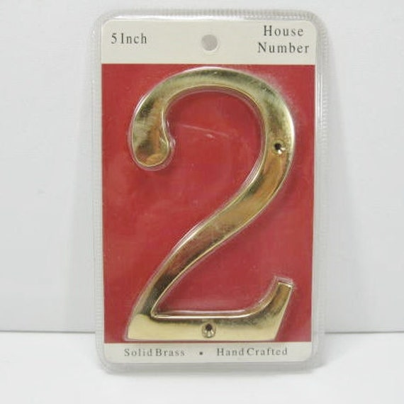 Number Two 2 in solid brass Room Number Address Nursery Decor