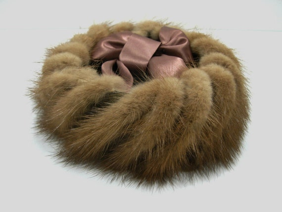 Pillbox style Mink Hat