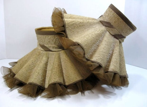 Vintage Ruffled Lamp Shades Oatmeal Fabric Brown Trim Pair Of