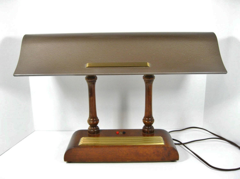 vintage desk lamp fluorsecent wood base metal by thefronthouse. Black Bedroom Furniture Sets. Home Design Ideas