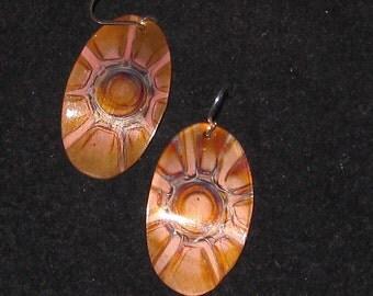Oval  copper earrings, oxidized neutral copper jewelry