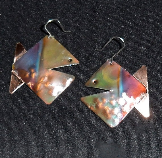 Hammered copper earrings, square oxidized copper fish