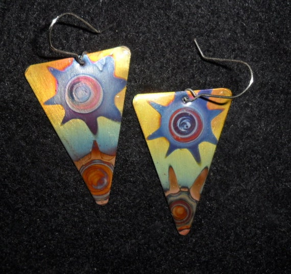 Triangular copper earrings, blue star, copper jewelry